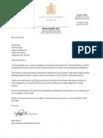Letter from Mason on Bhardwaj allegations