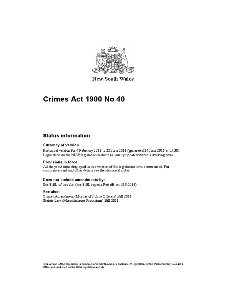 Nsw crimes act 1900 theft assault aiddatafo Image collections