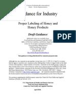 U.S. Food and Drug Administration draft guidance on honey labeling