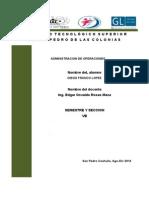 crucigrama de administracion de operaciones