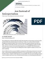 Impersonation Instead of Interpretation - WSJ