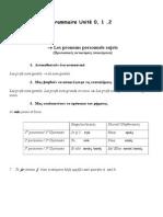 Grammaire Unité 0 1 2