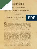 Periódico Clamor de la Patria. N° 1 al 7. (1823)