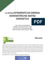 O Aproveitamento Da Energia Maremotriz Na Matriz Energética