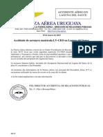 Comunicado de la Fuerza Aérea de Uruguay por el accidente de la aeronave argentina