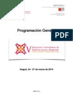 PROGRAMACIÓN GENERAL V SIMPOSIO COLOMBIANO DE HISTORIA LOCAL Y REGIONAL
