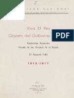 Viva El Rey. Gazeta Del Gobierno de Chile. Ilustración Araucana Sacada de Los Arcanos de La Razón. El Augurio Feliz (1813-1817). (1952)