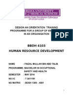 Design an Orientation Training Programme for a Group of Employees in an Organisation