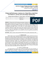 Design and Performance Analysis of a C Band Micro-strip Patch Feed Reflector Antenna and Link Budget Optimization