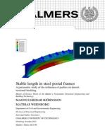 Stable length in steel portal frames