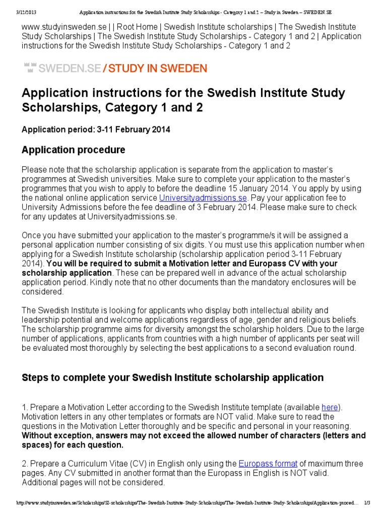 Application instructions for the swedish institute study application instructions for the swedish institute study scholarships category 1 and 2 study in sweden swedenpdf sweden self improvement spiritdancerdesigns Images
