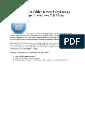 Cara Membuat Folder Tersembunyi Tanpa Nama Dan Logo Di Windows 7