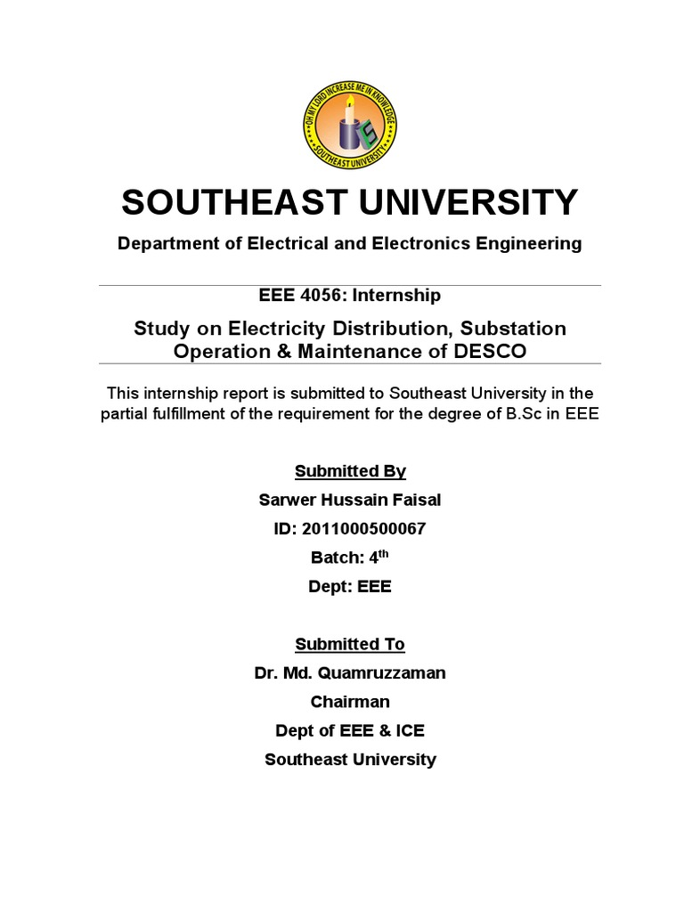 Study on Electricity Distribution, Substation Operation