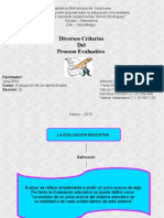 diversos criterios del proceso evaluativo