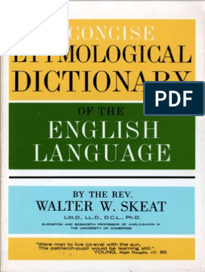 Concise Etymological Dictionary | Dictionary | English Language