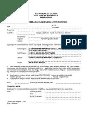 Surat Kebenaran Ibu Bapa Standard Jabatan Pelajaran Selangor