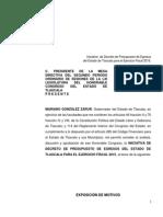 Iniciativa de Decreto de Presupuesto de Egresos Del Estado de Tlaxcala Para El Ejercicio Fiscal 2