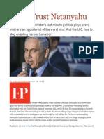 Never Trust Netanyahu