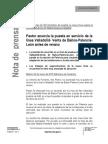 Nota de prensa de fomento sobre LAV a León