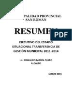 Informe Transferencia - Juliaca 2015