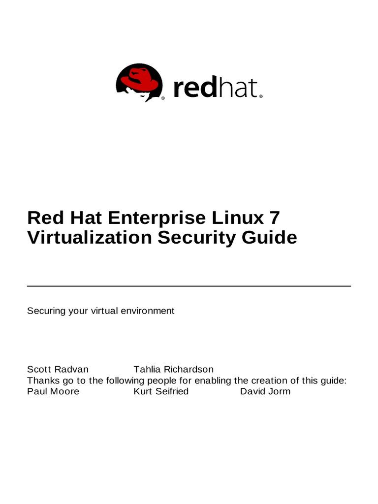 Red Hat Enterprise Linux 7 Virtualization Security Guide En US