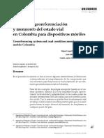 Sistema de georeferenciacion y monitoreo del estado vial en colombia para dispositivos moviles