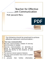 Role of Teacher for Effective Classroom Communication