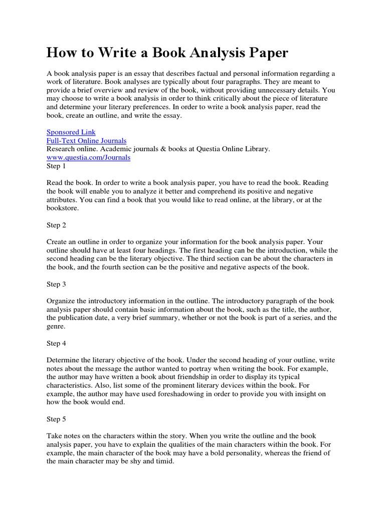 How To Write A Book Analysis Paper  PDF  Books  Essays