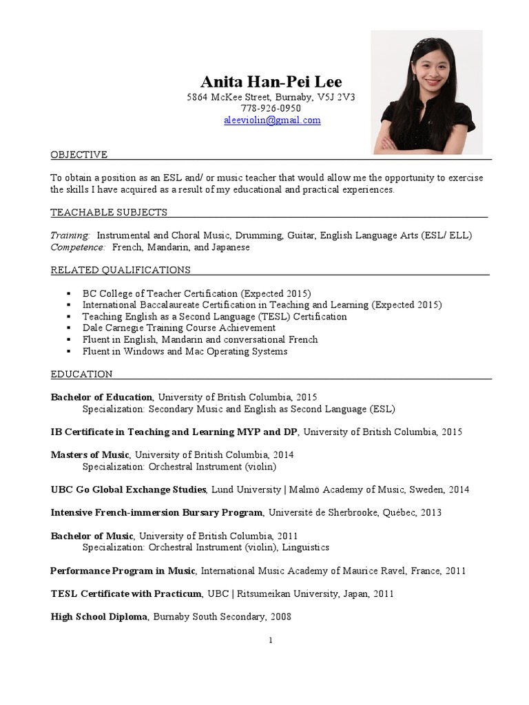 Revised resume english as a second or foreign language vancouver 1betcityfo Gallery