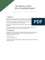 Ensayos de Vacío y Corto Circuito de Un Transformador 1Φ