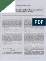 La Traducción Simbólica de La Crítica Transcedental en La Filosofía de Cassirer