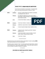 Dieta de Los 3 Dias Del Miami Health Institue
