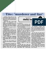 "Tito - ""Murderer and Liar"" - March 14 1978"