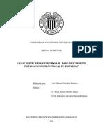 Tesina Sobre Análisis de Riesgos Debidos Al Robo de Cobre en Instalaciones Eléctricas en Empresas de Jose Miguel Codoñer