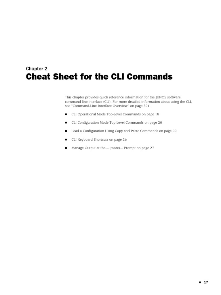 Juniper Cheat Sheet | Command Line Interface | Computer File