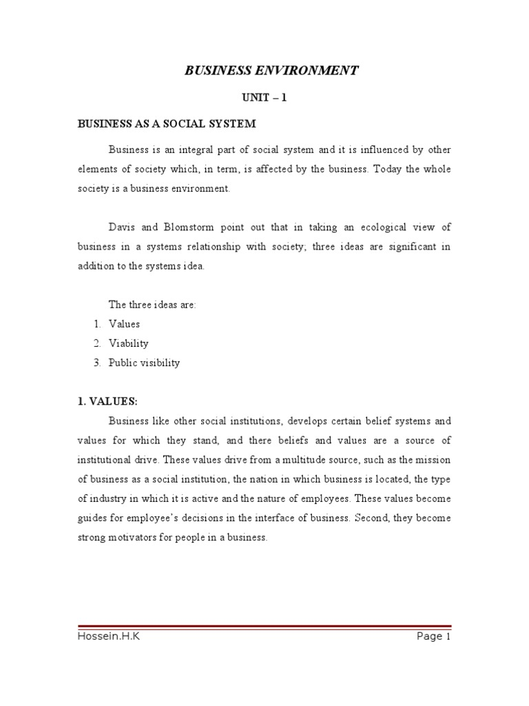 BUSINESS ENVIRONMENT 1st,Semester notes mba UNIT – 1