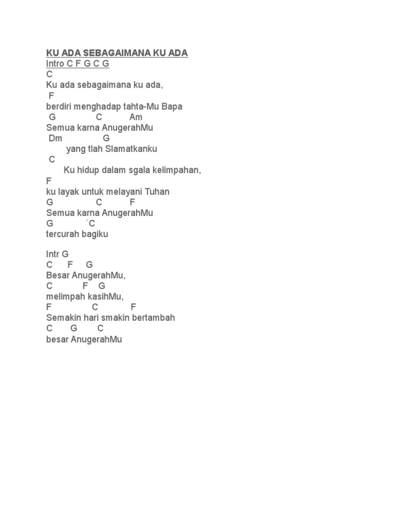 Chord Lagu Rohani Docx