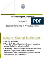 Fin650 Lecture3 Essential Formulae in Project Appraisal Final