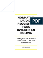 Normativa Juridica Requisitos Para Invertir en Bolivia
