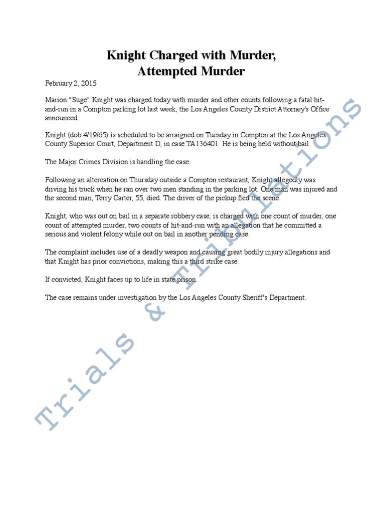 LA Co DA Press Release on Suge Knight Charges