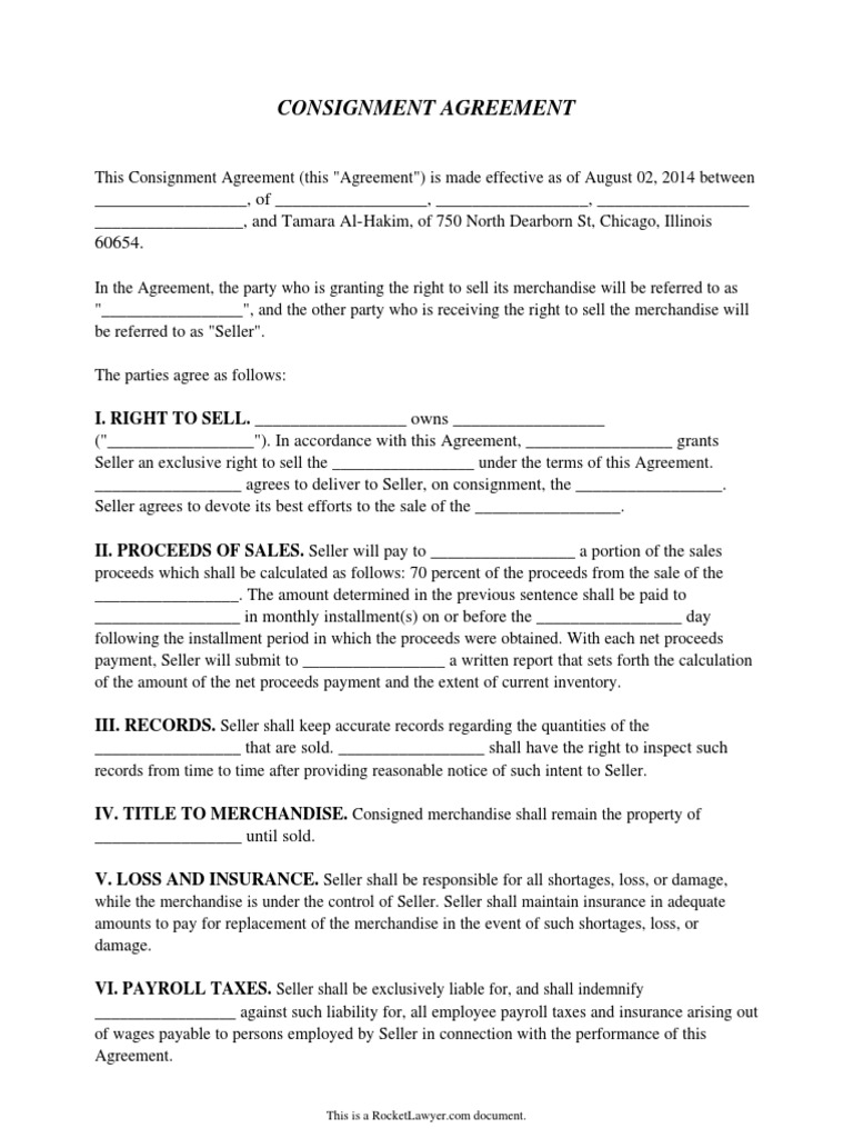 My Consignment Agreementpdf Arbitration Payroll