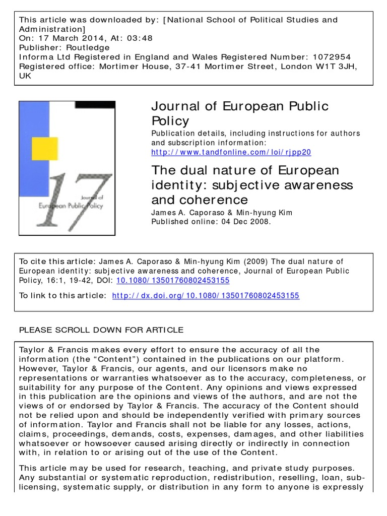 The Dual Nature Of European Identity Identity Social Science