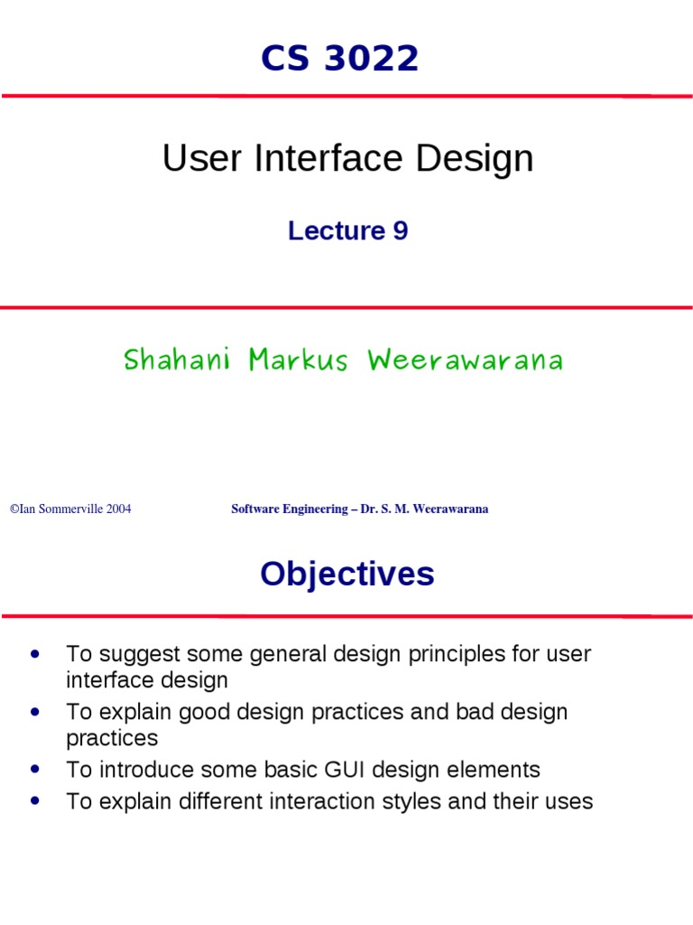 Lecture 9 Ui Design User Interface Design Graphical User Interfaces