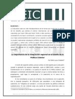 La Importancia de La Integracion Regional en El Diseño de La Politica Exterior