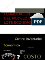 Formulacion Del Modelo de Lote Economico