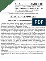 Lettera alle Famiglie - 22 marzo 2015