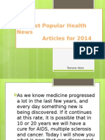 Most Popular Health News Articles for 2014