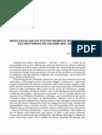 Mots Catalans en Textos Hebreus Medievals