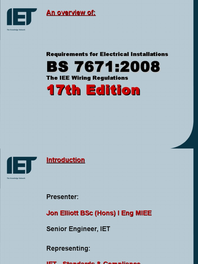 17th Edition Overviewppt Electrical Wiring Components Commercial Powerpoint Presentation