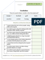 Elementary Level ESOL Sports Vocabulary Lesson Worksheets